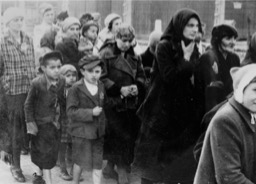 Arrival and selection of deported Jews at Auschwitz II – Birkenau.